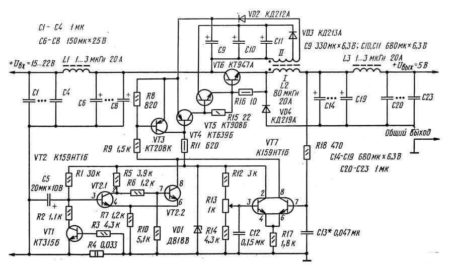 Схема релейного стабилизатора напряжения Чтобы получить ток нагрузки, равный 10А, мы используем суммарное включение...